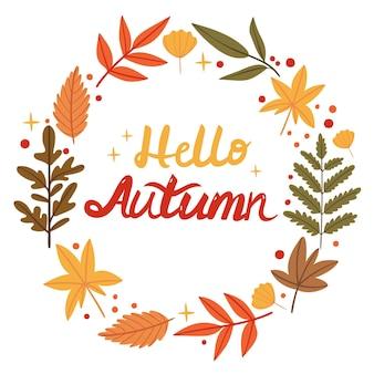 Napis w wieńcu z jesiennych liścirośliny leśneilustracja książkijesień
