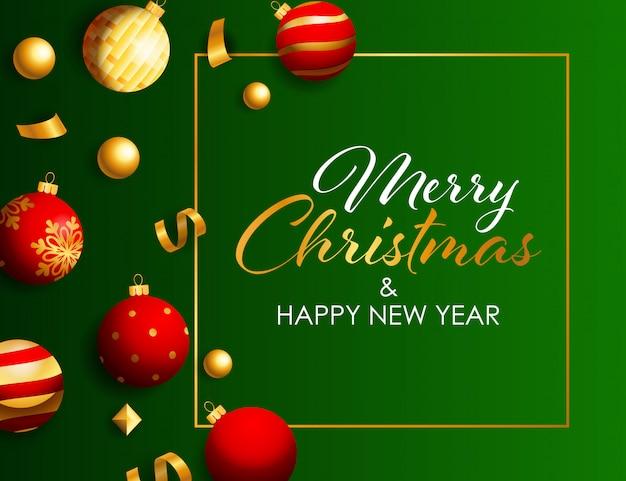 Napis wesołych świąt bożego narodzenia w ramce z zabawkami świątecznymi