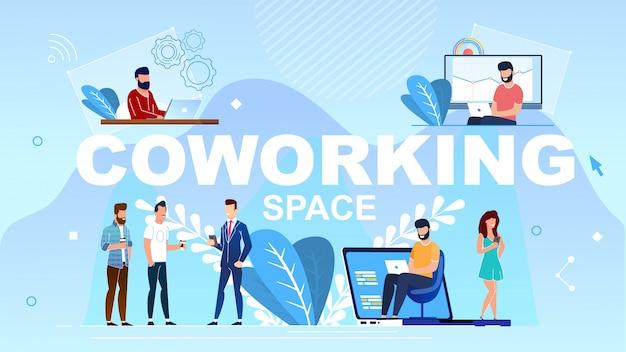 Napis wielkimi literami coworking space.
