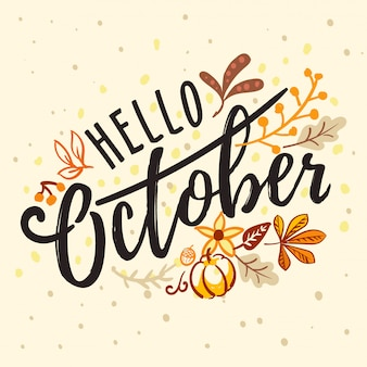 Napis witaj październiku z natury jesienią ornamentem