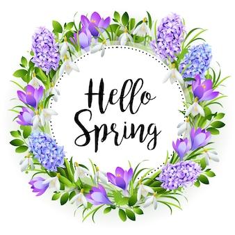 Napis witaj wiosna na tle z wiosennych kwiatów
