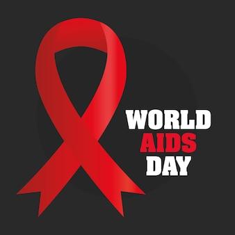 Napis world aids day z dużą czerwoną wstążką po lewej stronie