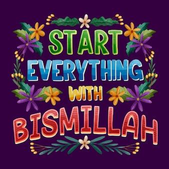 Napis z cytatem bismillah