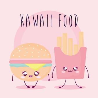 Napis z jedzeniem kawaii z burgerem i frytkami.