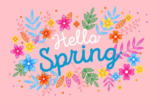 Napis z kolorową dekoracją na wiosnę