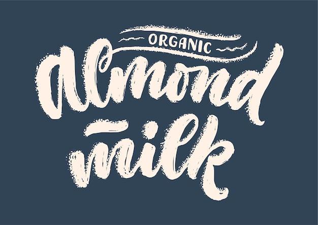 Napis z mlekiem migdałowym na logo transparentu i projekt opakowania