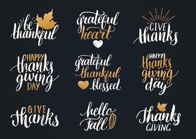 Napis z okazji święta dziękczynienia na zaproszenia lub świąteczne kartki z życzeniami. zestaw do kaligrafii odręcznych