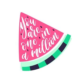 Napis z zabawną frazą w kształcie ilustracji arbuza