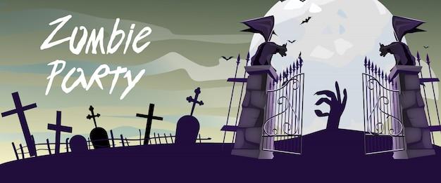 Napis zombie party z bramami cmentarnymi, gargulcami i księżycem