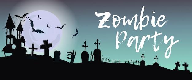 Napis zombie party z cmentarza i księżyca