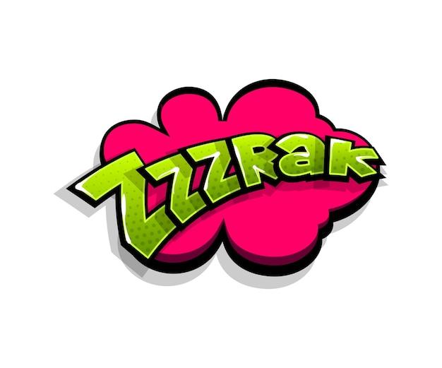 Napis zrak, zzz, smack. tekst komiksowy pop-art