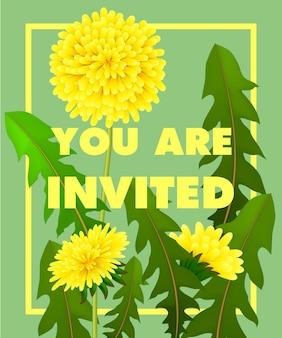 Napisałeś z żółtymi dandelions w ramce na zielonym tle.