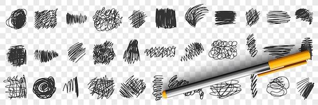 Napisane piórem lub ołówkiem scribbles rysunki doodle zestaw ilustracji
