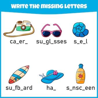 Napisz brakującą literę arkusz ćwiczeń dla edukacji wypełnij brakującą literę minigra dla dzieci