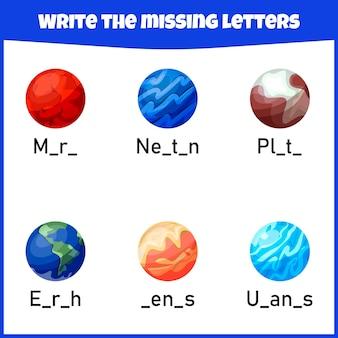 Napisz brakującą literę arkusz roboczy dla edukacji