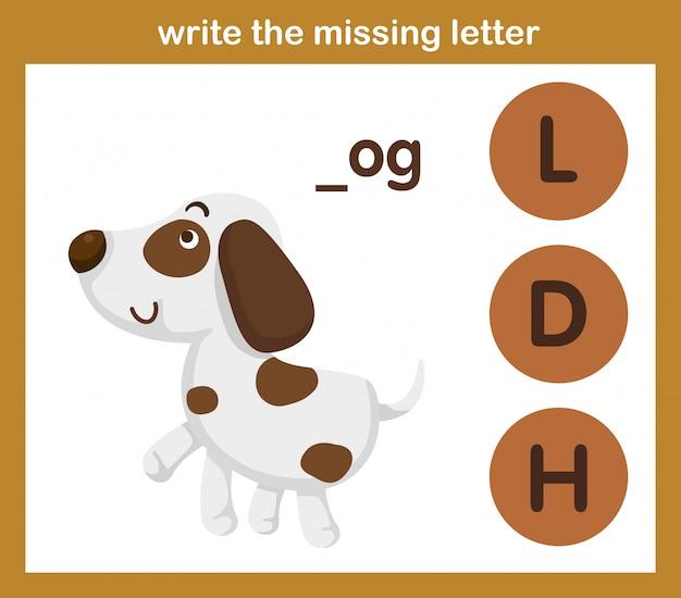 Napisz brakującą literę, ilustracja, wektor