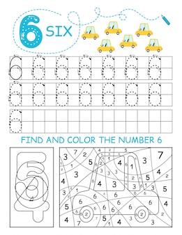 Napisz cyfry 6. sześć arkuszy kalkulacyjnych z samochodami dla chłopca. arkusz przedszkolny, ćwiczenia umiejętności motorycznych - śledzenie linii przerywanych.