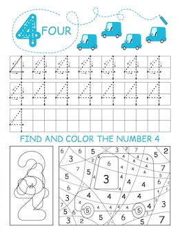 Napisz liczby 4. cztery arkusze śledzenia z samochodami dla chłopca. arkusz przedszkolny, ćwiczenia umiejętności motorycznych - śledzenie linii przerywanych.