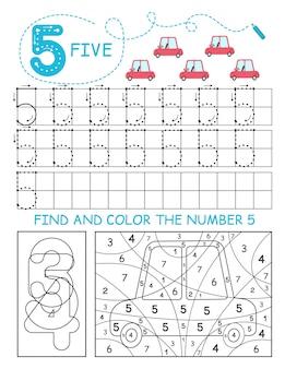 Napisz liczby 5. pięć arkuszy kalkulacyjnych z samochodami dla chłopca. arkusz przedszkolny, ćwiczenia umiejętności motorycznych - śledzenie linii przerywanych.