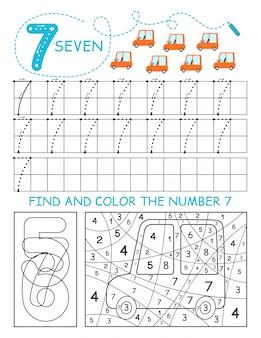 Napisz liczby 7. siedem arkuszy kalkulacyjnych z samochodami dla chłopca. arkusz przedszkolny, ćwiczenia umiejętności motorycznych - śledzenie linii przerywanych.