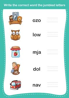 Napisz poprawne słowo pomieszanych liter