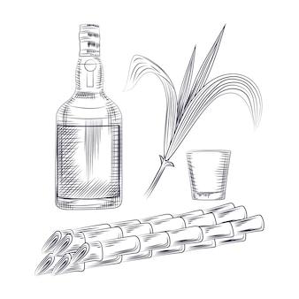 Napój alkoholowy, łodygi roślin cukrowych, rum z butelki i kieliszek koktajlowy.