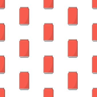 Napój bezalkoholowy może bez szwu wzór na białym tle. pić temat ilustracji wektorowych
