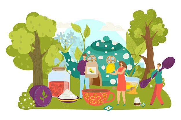 Napój herbaciany dla ludzi, ilustracji wektorowych. mały płaski mężczyzna postać kobiety zrobić gorący napój w filiżance, osoba trzymać łyżkę, torebkę, cytryny. ceremonia przy ogromnym czajniczku, słodkim dżemie i miodzie na świeżym powietrzu.