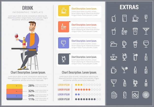 Napój infographic szablon, elementy i ikony