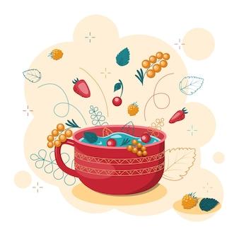 Napój jagodowy. kompot z jagodami w czerwonym kubku. soczysty plusk z truskawkami, wiśniami, malinami i rokitnikiem. pojedynczo na białym tle. ilustracja wektorowa