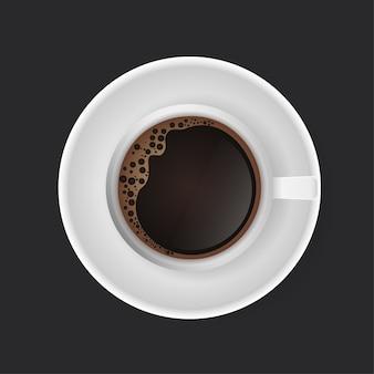 Napój kawowy. filiżanka kawy na ciemnym tle. sztuka współczesna.