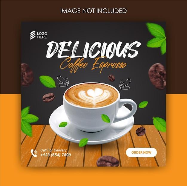 Napój kawowy promocja w mediach społecznościowych i szablon postu na banerze