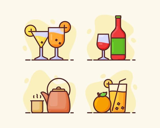 Napój napój zestaw ikon kolekcja koktajl tradycyjny napój sok pomarańczowy wino z płaską konspektem styl ilustracji wektorowych projektowania