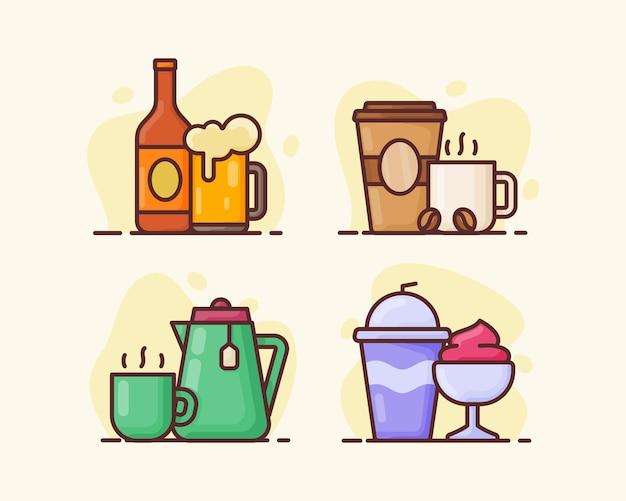 Napój napój zestaw ikon pakiet kolekcja zimne piwo gorąca kawa zielona herbata lody z ilustracji wektorowych płaski styl