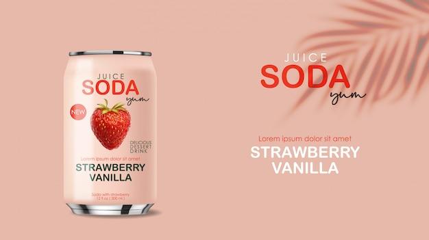 Napój sodowy w metalowej puszce z owocami truskawek, realistyczna różowa puszka 3d, napój letni, projekt opakowania