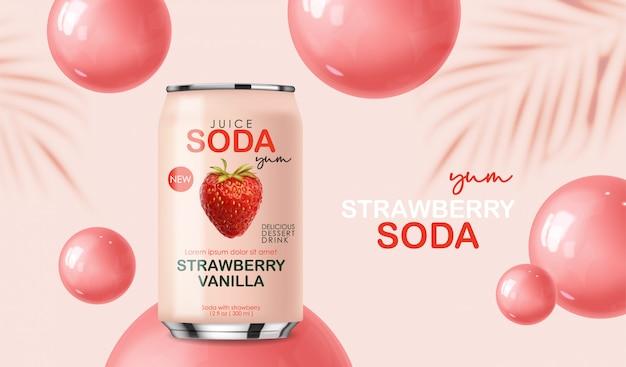 Napój sodowy zawarty w metalowej puszce z truskawkowymi owocami i bąbelkami, realistyczny różowy letni napój 3d, projekt opakowania