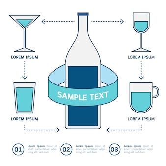 Napój szklanek ikony infographic na białym tle.