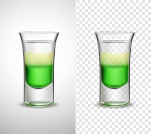 Napoje alkoholowe kolorowe szkło przejrzyste banery