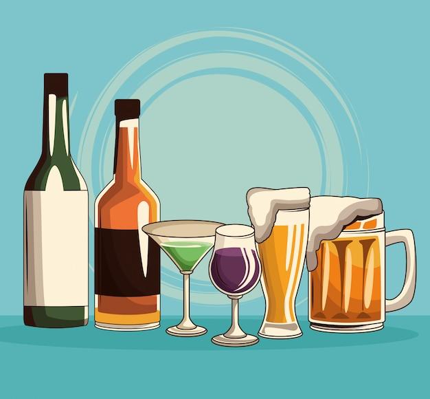 Napoje alkoholowe na białym tle