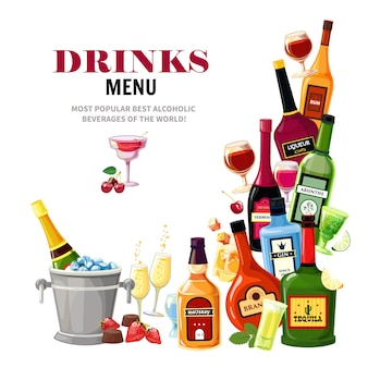 Napoje alkoholowe napoje menu płaski plakat