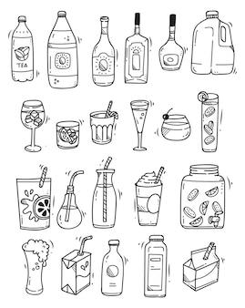 Napoje doodle set na białym tle