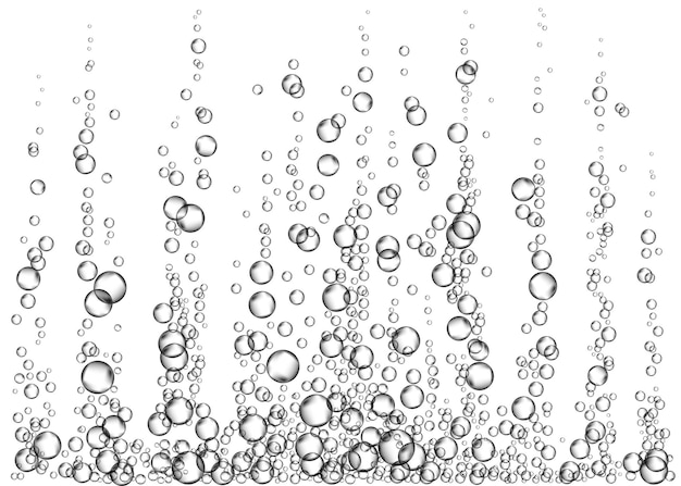 Napoje gazowane. podwodne musujące pęcherzyki powietrza na białym tle. musujące iskierki w wodzie, morzu, akwarium, oceanie. napój musujący. tekstura wektor podmorski.