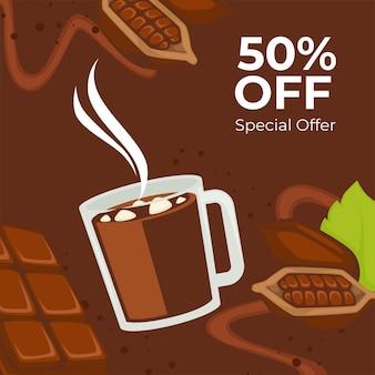 Napoje kakaowe i gorąca czekolada w rabatach na filiżanki i sprzedaż w kawiarni. smaczny słodki i ciepły napój. 50% zniżki. promocyjny baner lub plakat, zniżki w kawiarni lub restauracji. wektor w mieszkaniu