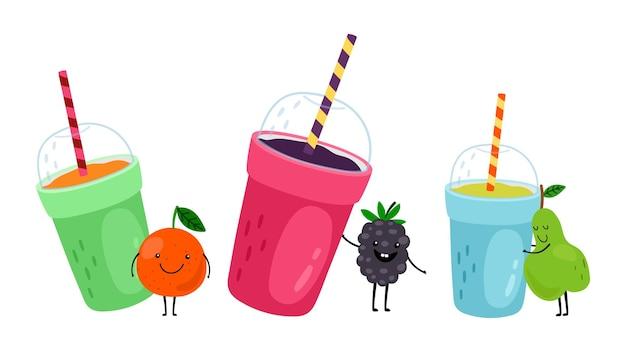Napoje owocowe. szczęśliwy kreskówka pomarańczowy, gruszka i jeżyna.