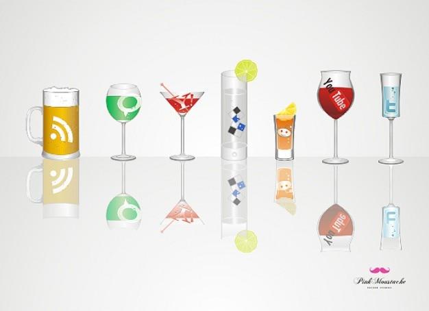 Napoje społecznych zestaw ikon wektorowych obiektów