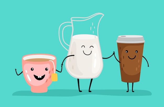 Napoje z kreskówek. postacie z mleka, kawy i herbaty. śniadanie śmieszne napoje trzymaj się za ręce ilustracji wektorowych