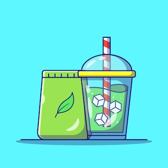 Napoje z zielonej herbaty matcha z kostkami lodu w filiżance na wynos
