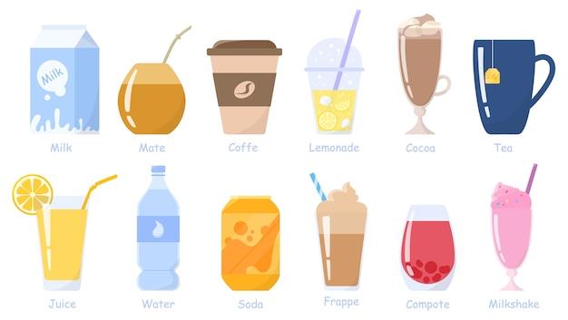 Napoje, zestaw napojów. opakowanie mleka, puszka napoju, szklanka soku, filiżanka kawy i herbaty itp. napoje bezalkoholowe. zdrowe style życia. ilustracja