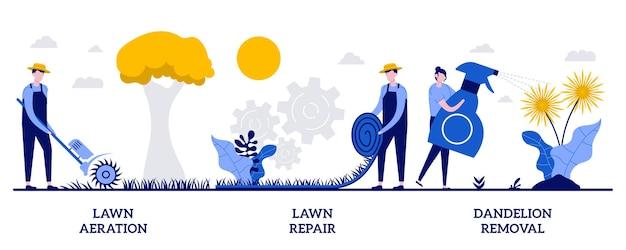 Napowietrzanie trawnika i naprawa, koncepcja usuwania mniszka lekarskiego z małymi ludźmi. zestaw ilustracji wektorowych konserwacji trawnika. dosiew, nawożenie traw, strzecha i mech, metafora zagęszczenia gleby.