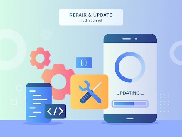 Napraw i zaktualizuj zestaw ilustracji aktualizujących dane na ekranie wyświetlacza smartfona w tle programu do kodowania narzędzi śrubokrętem z płaskim stylem.